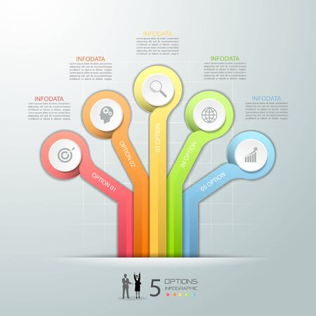 Abstract 3d infographic 5 options,  Business concept infographic template can be used for workflow layout, diagram, number options, Illustration