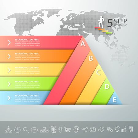 Design triangle infographic template. Business concept infographic 5 options can be used for workflow layout, diagram, number options, timeline or milestones project.