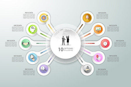botton: Abstract 3d infographic 10 options,  Business concept infographic template can be used for workflow layout, diagram, number options,