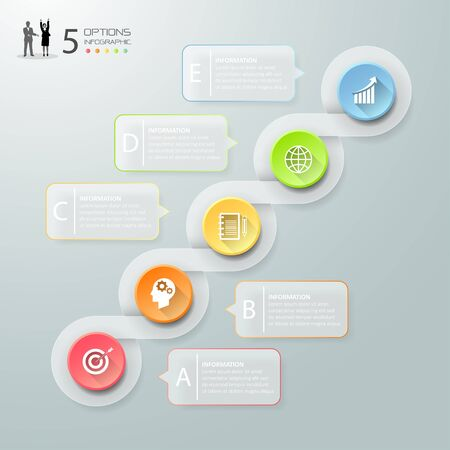 Abstract 3d infographic 5 options,  Business concept infographic template can be used for workflow layout, diagram, number options, timeline or milestones project.