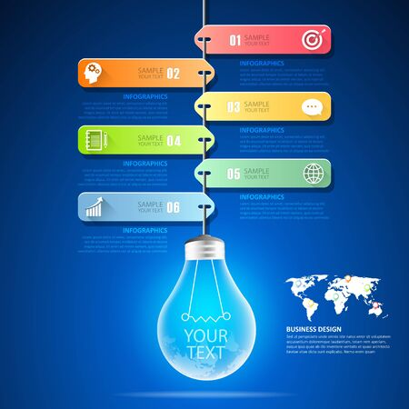 Design lightbulb infographic 6 options,  Business concept infographic template can be used for workflow layout, diagram, number options, timeline or milestones project.