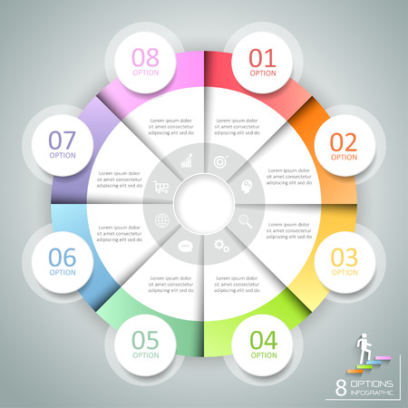 Design circle infographic 8 options,  Business concept infographic template can be used for workflow layout, diagram, number options, timeline or milestones project. Illustration