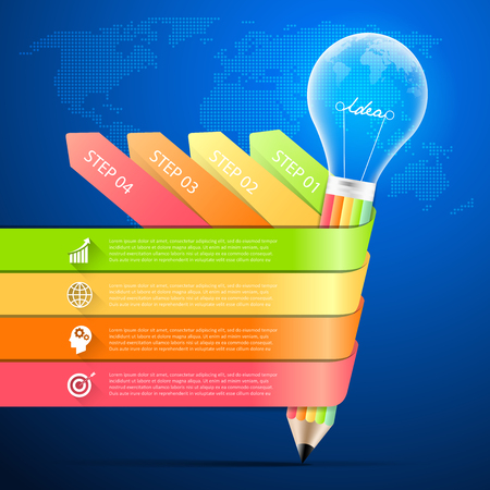 Design pencil with lightbulb infographic 4 options,  Business concept infographic template can be used for workflow layout, diagram, number options, timeline or milestones project. Illustration