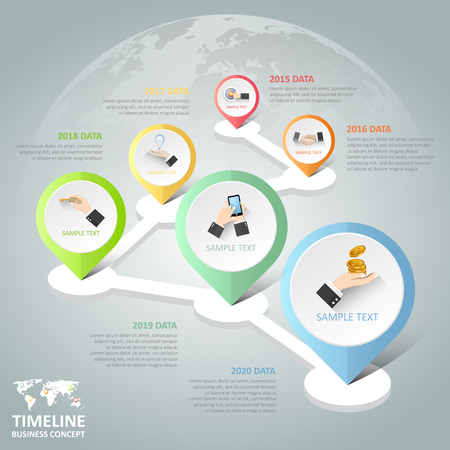 botton: Timeline infographic 6 options,  Business concept infographic template can be used for workflow layout, diagram, number options, Illustration