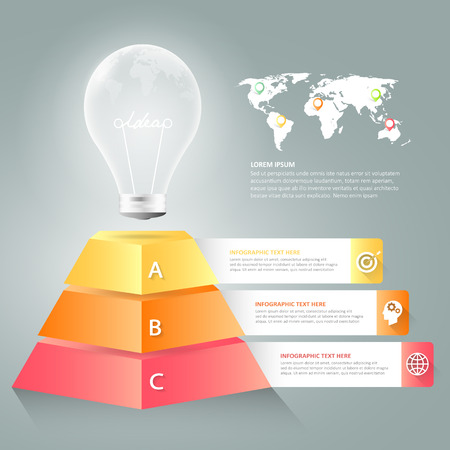 Design lightblub infographic 3 options,  Business concept infographic template can be used for workflow layout, diagram, number options, timeline or milestones project.