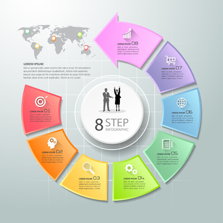 Abstract 3d infographic 8 options,  Social media concept infographic template can be used for workflow layout, diagram, number options, timeline or milestones project. Illustration
