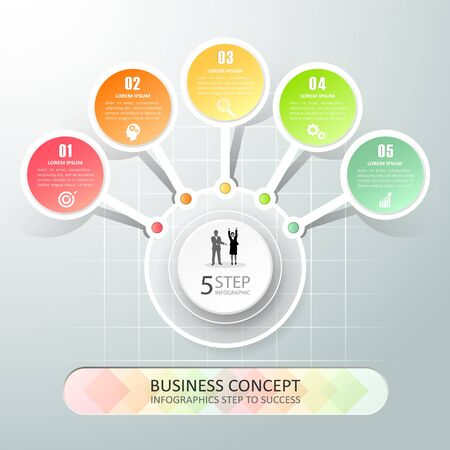 Design template infographic 5 options,  Business concept infographic can be used for workflow layout, diagram, number options,