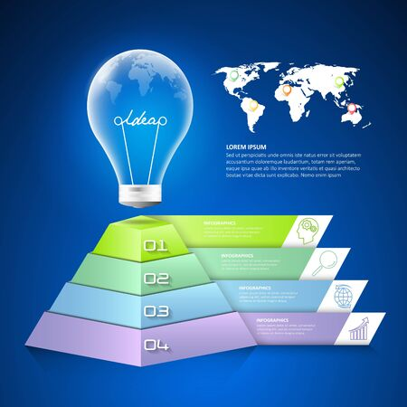 Design lightblub infographic 4 options,  Business concept infographic template can be used for workflow layout, diagram, number options, timeline or milestones project. Illustration
