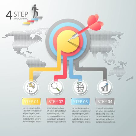 Design template infographic 4 options,  Business concept infographic can be used for workflow layout, diagram, number options,