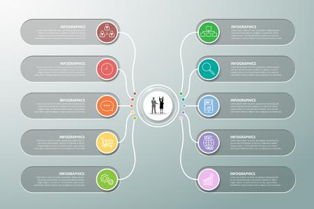 Modelo de design infográfico 10 opções. pode ser usado para layout de fluxo de trabalho, diagrama, opções numéricas, linha do tempo e etapas Ilustración de vector