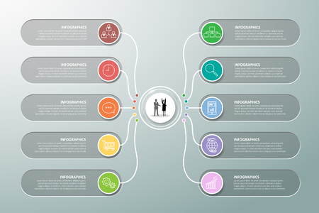 Design infographic template 10 options. can be used for workflow layout, diagram, number options, timeline and steps