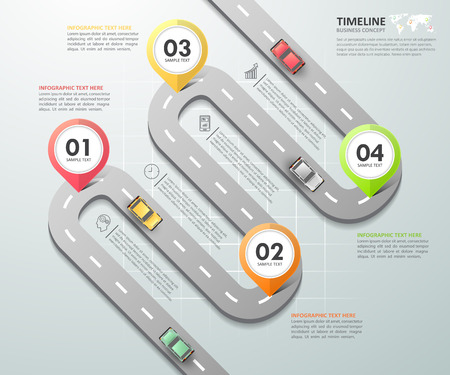 Road way infographic template 4 options. can be used for workflow layout, diagram, number options, timeline and steps