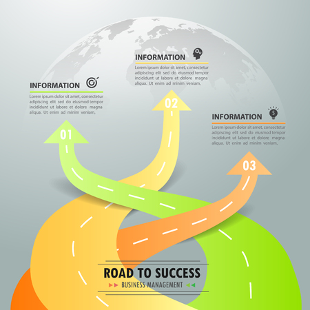 Road way infographic template 3 options. can be used for workflow layout, diagram, number options, timeline and steps