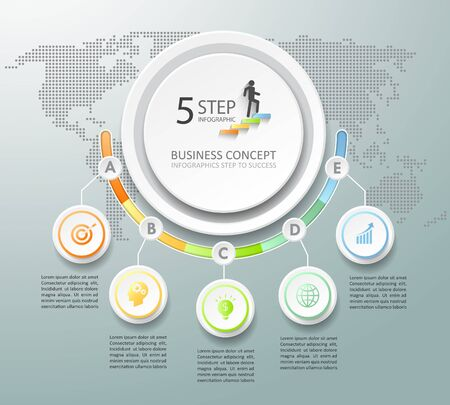 Design infographic template 5 options. can be used for workflow layout, diagram, number options, timeline and steps