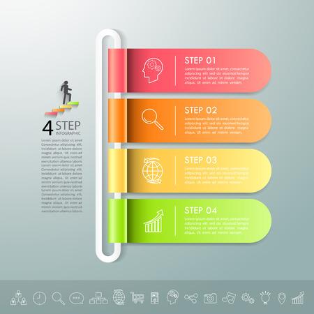 Plantilla de diseño Plantilla de infografía de concepto de negocio se puede utilizar para diseño de flujo de trabajo, diagrama, opciones de número, línea de tiempo o proyecto de jalones.