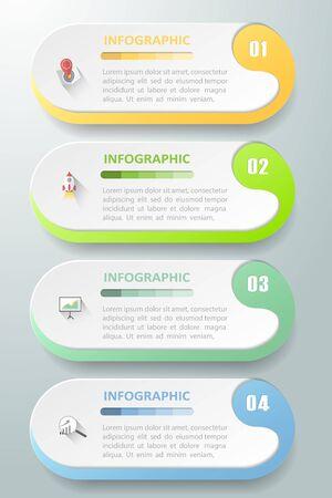 Plantilla de diseño Plantilla de infografía de concepto de negocio se puede utilizar para diseño de flujo de trabajo, diagrama, opciones de número, línea de tiempo o proyecto de jalones. Ilustración de vector
