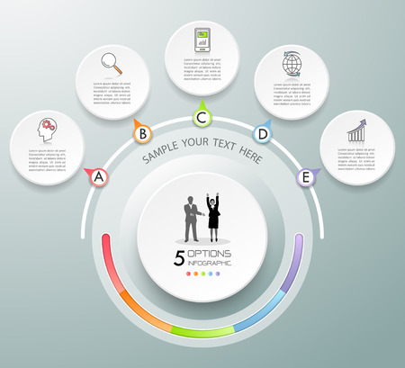 Design circle infographic template 5 options. can be used for workflow layout, diagram, number options, timeline, steps, demo infographic Illustration