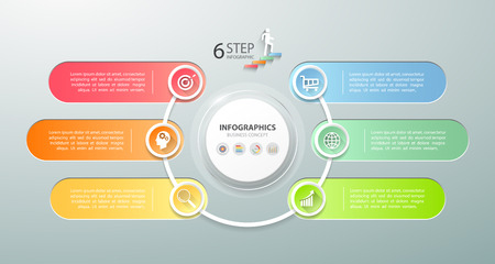 Design infographic template 6 options. Business concept can be used for workflow layout, diagram, number options, timeline, steps, demo infographic