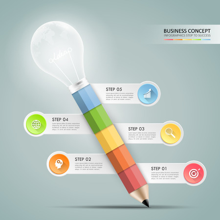 Abstract design pencil with  lightbulb infographic 5 options,  Business concept infographic template can be used for workflow layout, diagram, number options, timeline or milestones project. Illustration