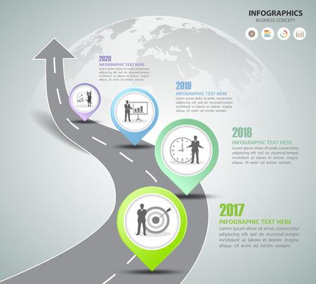 Camino camino infográfico plantilla 4 opciones. puede utilizarse para la distribución del flujo de trabajo, el diagrama, las opciones de número, la línea de tiempo y los pasos
