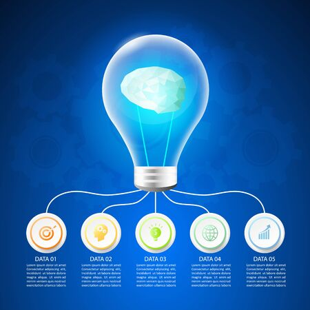 Design lightbulb infographic 5 options,  Business concept infographic template can be used for workflow layout, diagram, number options, timeline or milestones project.