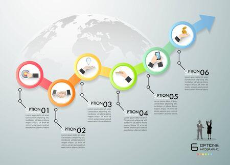 Plantilla de infografía de concepto de negocio, se puede utilizar para diseño de flujo de trabajo, diagrama, opciones numéricas, cronograma o proyecto de hitos.