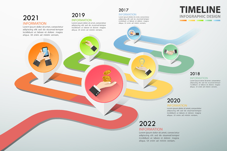 Timeline business concept template 5 steps