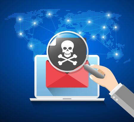 Cyber Crime Concept with Email and Skull Flat Icon Illustration