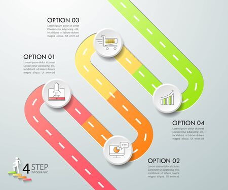 Design infographic template 4 options. Business concept can be used for workflow layout, diagram, number options, timeline, steps, demo infographic Illustration