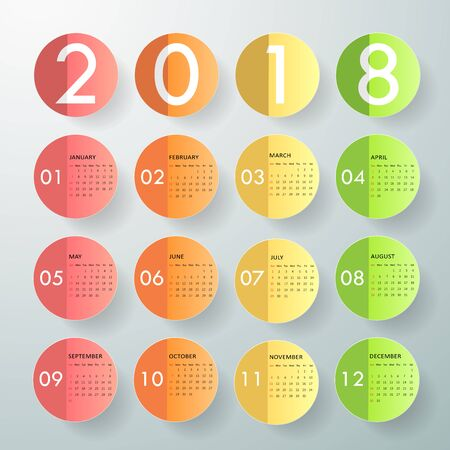 Design calendar of 2018. Vector illustration Illustration