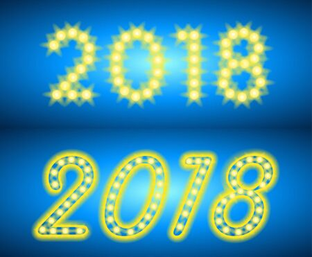 Abstract bright 2018. Design neon text on blue background. Design element for Happy happy new year greeting card, banner. Vector illustration.