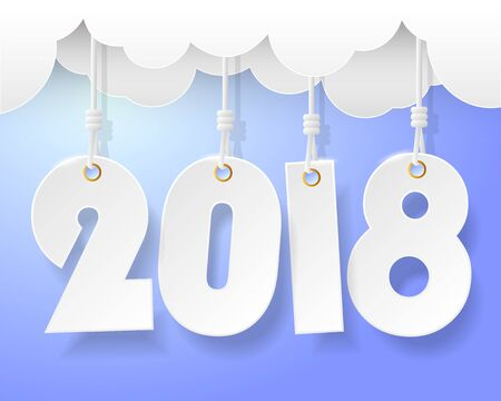 Design happy new year 2018  greeting card. Vector illustration Illustration