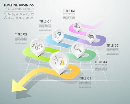 Arrow infographic template 5 options. Business concept can be used for workflow layout, diagram, number options, timeline, steps Illustration