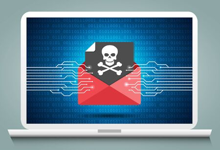 Cyber Crime & Spam Concept with e-mail message alert, Spam, Virus, Bug and Error system, vector illustration.