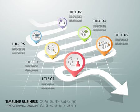 Arrow infographic template 6 options. Business concept can be used for workflow layout, diagram, number options, timeline, steps