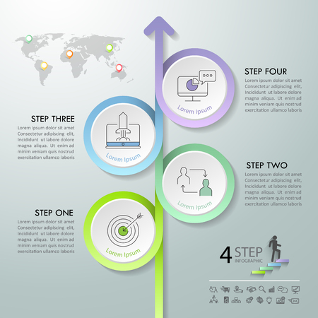 Arrow infographic template 4 options. Business concept can be used for workflow layout, diagram, number options, timeline, steps.