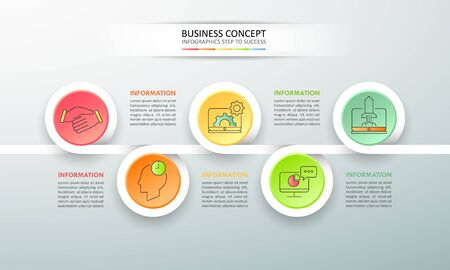 Timeline business concept infographic template 5 steps, can be used for workflow layout, diagram, number options, timeline or milestones project. Illustration