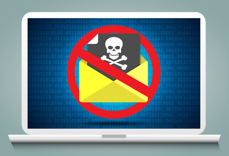 Cyber Crime and Spam Concept with e-mail message alert. Illustration