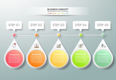 Design infographic template 5 options. Business concept can be used for workflow layout. Illustration