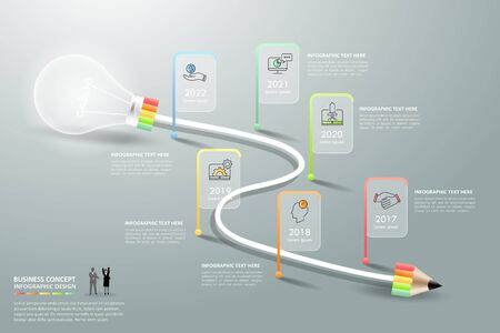 Design lightbulb infographic 6 options. Business concept infographic template can be used for workflow layout.