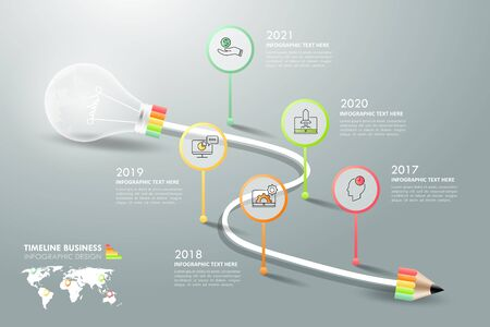 Design lightbulb infographic 5 options. Business concept infographic template can be used for workflow layout. Vettoriali