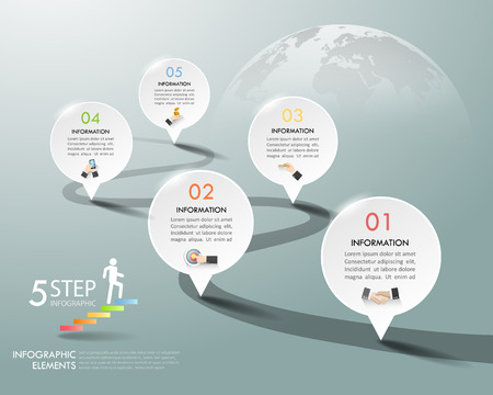 Design infographic template 5 options. Business concept can be used for workflow layout, diagram, number options, timeline, steps, demo infographic