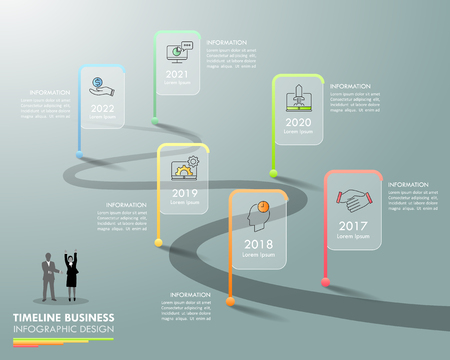 Business concept infographic template 6 steps, can be used for workflow layout, diagram, number options, timeline or milestones project.