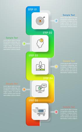Diseño de plantillas de infografía 5 opciones. El concepto de negocio se puede utilizar para el diseño del flujo de trabajo, diagrama, opciones numéricas, línea de tiempo, pasos, infografía demo Ilustración de vector
