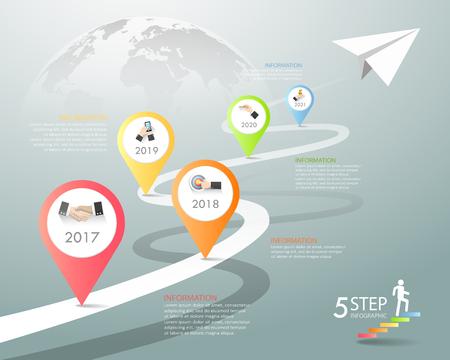 Diseño de plantillas de infografía 5 opciones. El concepto de negocio se puede utilizar para el diseño del flujo de trabajo, el diagrama, las opciones numéricas, la línea de tiempo, los pasos, la infografía demo