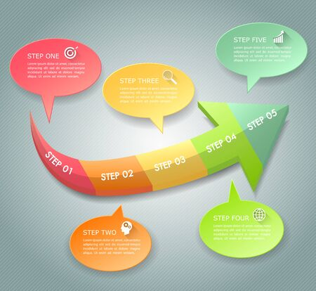 Design infographic template 5 options. Business concept can be used for workflow layout, diagram, number options, timeline, steps, demo infographic Vecteurs