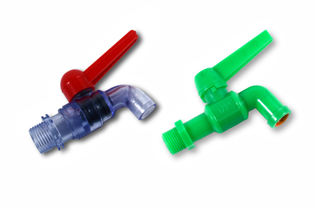 house ware: the green  and blue plastic faucet on white background