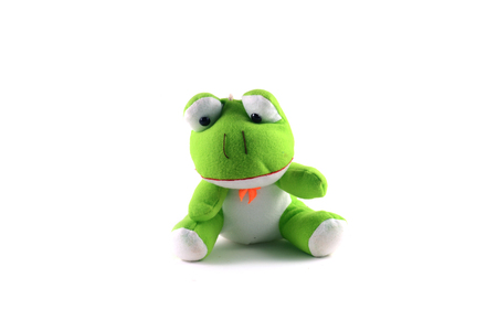 green frog  doll with white background