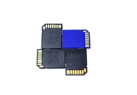 electronic background: iso late of the black and  blue  memory cards  for digital camera