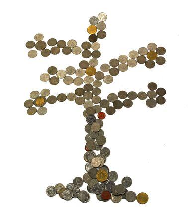 Feliz Rbol De Navidad Hecho De Monedas De Oro Metfora Negocios